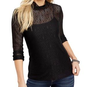 Maurices Sheer Lace Long Sleeve Top Medium